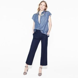 J. Crew Navy Cropped Cotton Stretch 4 Tall